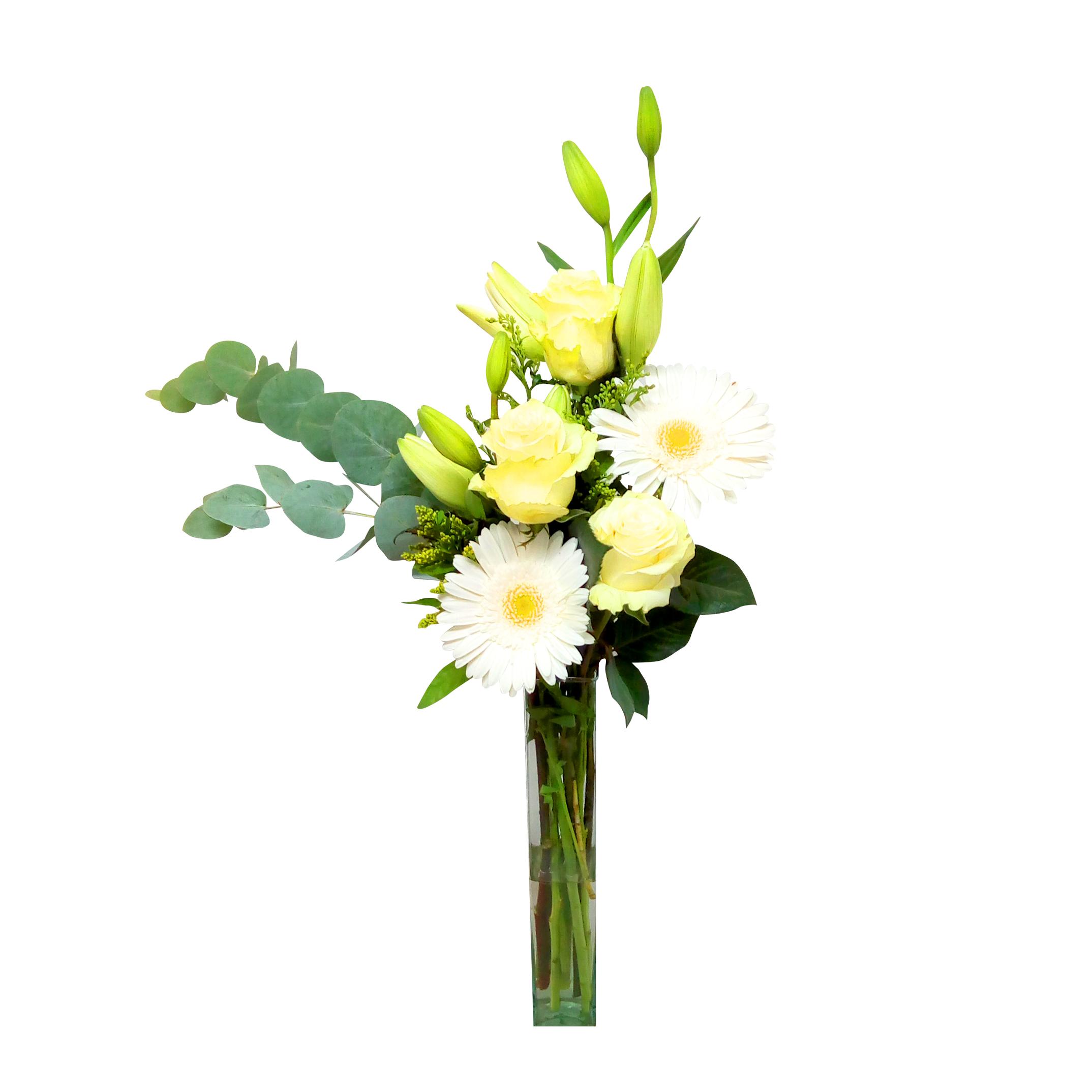 Floreros Mixto con Rosas, Lilium, Gerberas