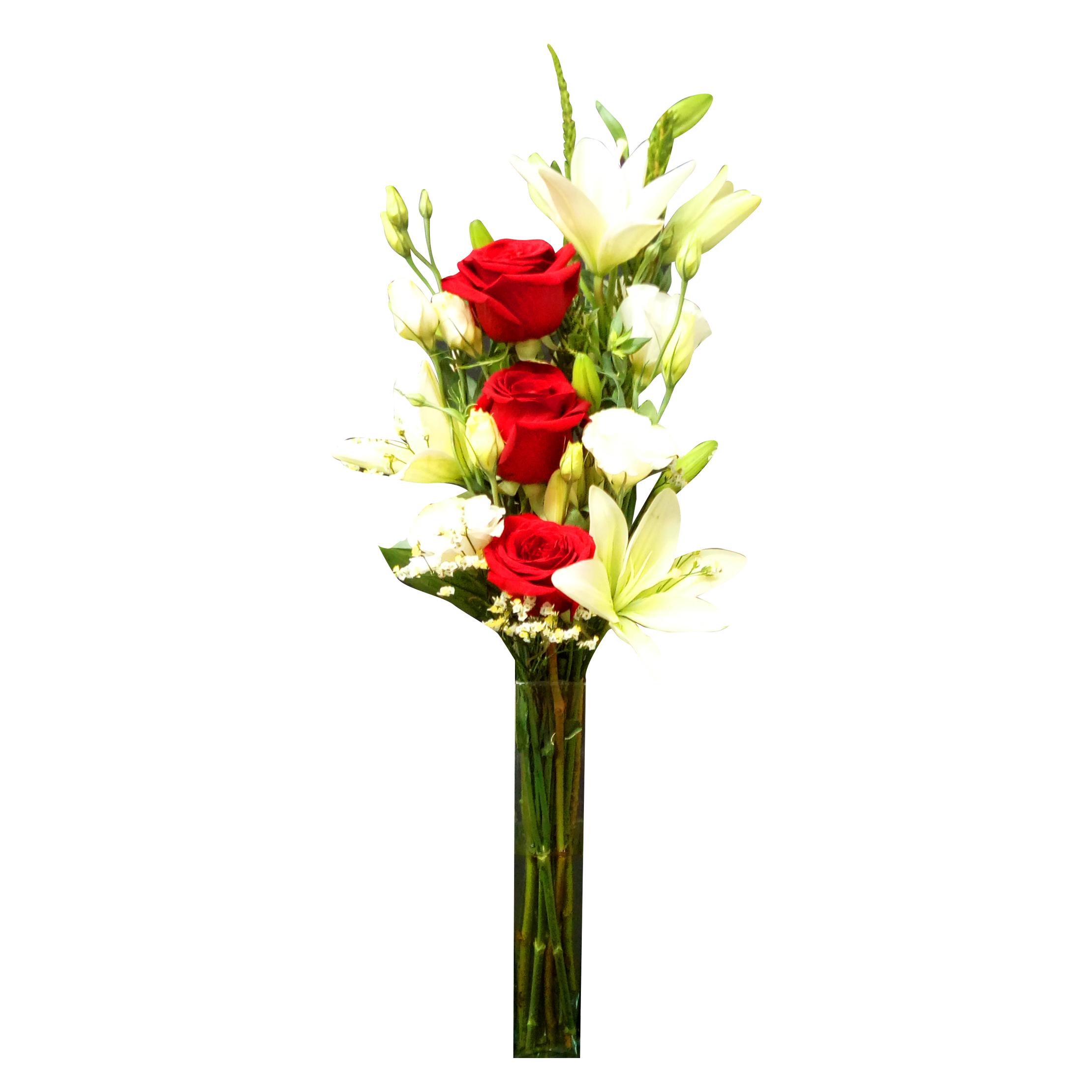 Florero Mixto con Rosas, Lilium, y Lisianthus