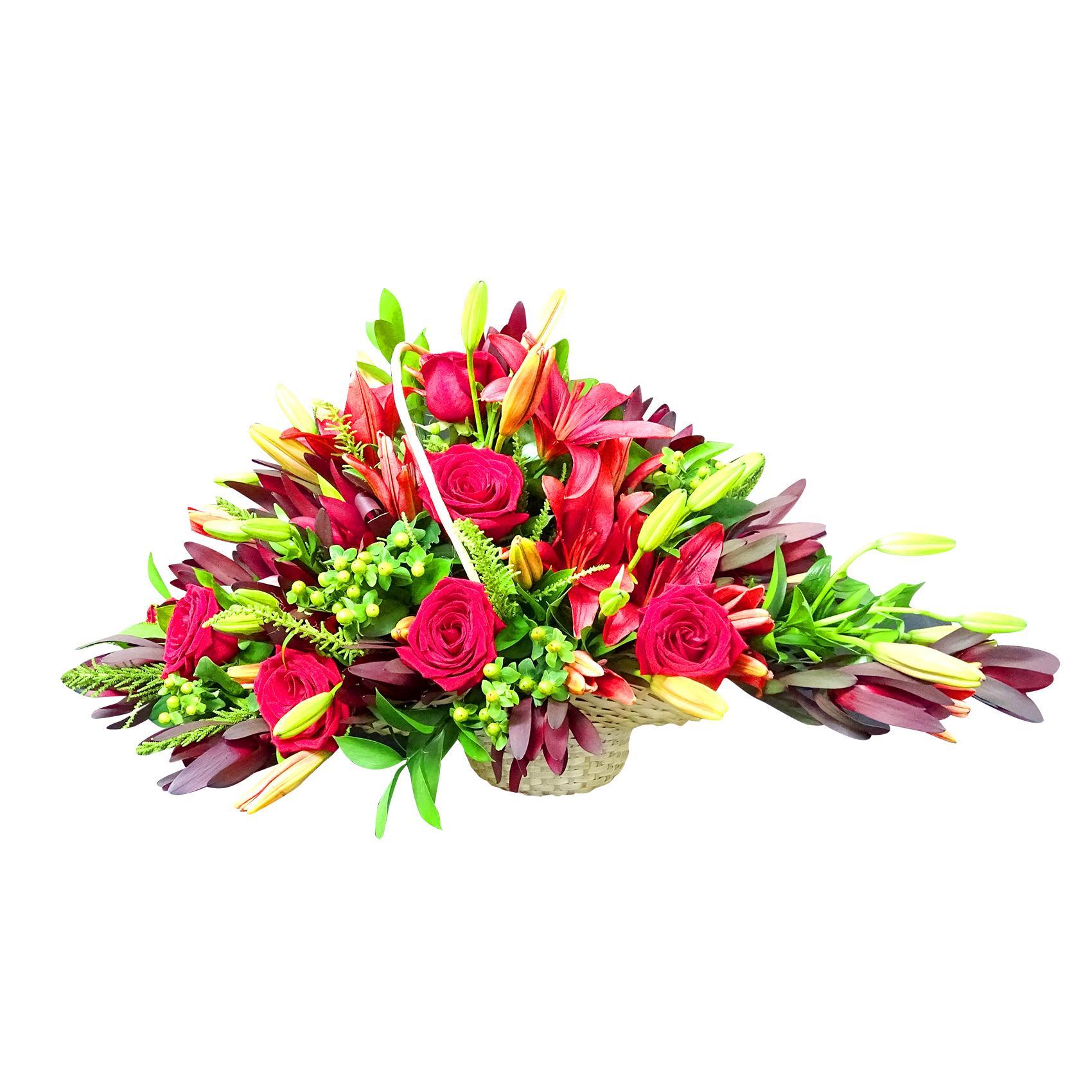 Violetera con Rosas, Lilium y Proteas