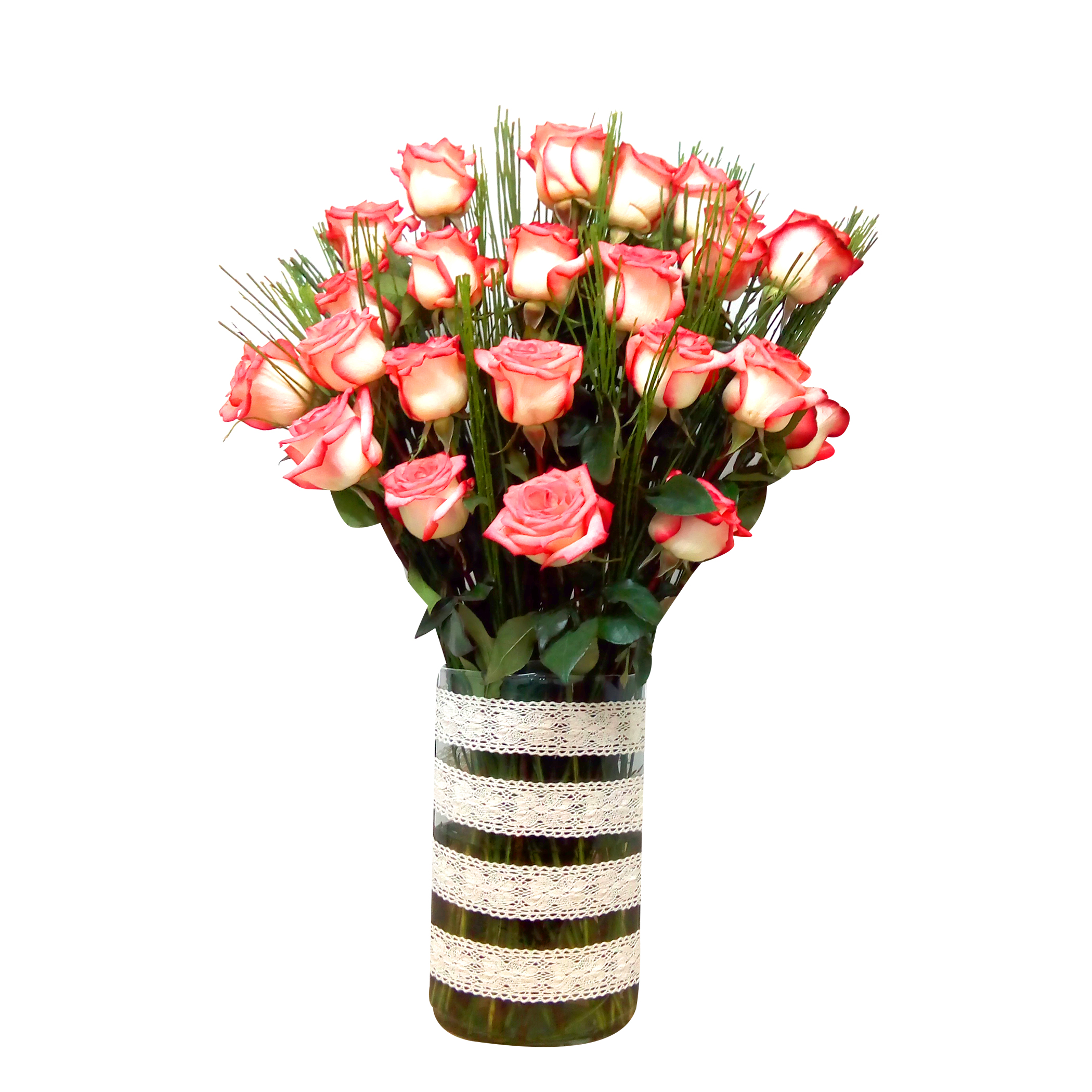 Floreros con Rosas Damasco mas Retamo
