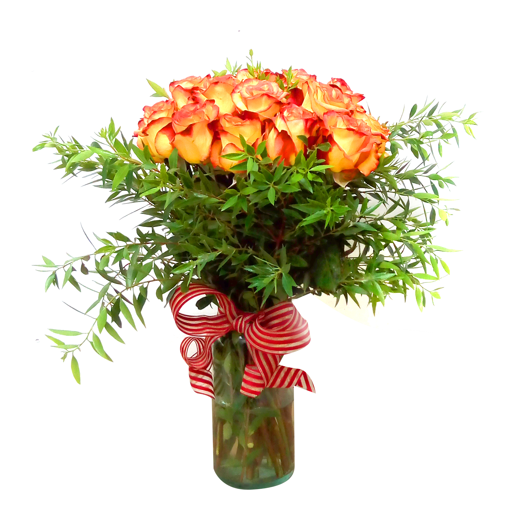 Floreros de Rosas Damasco mas Ruscus