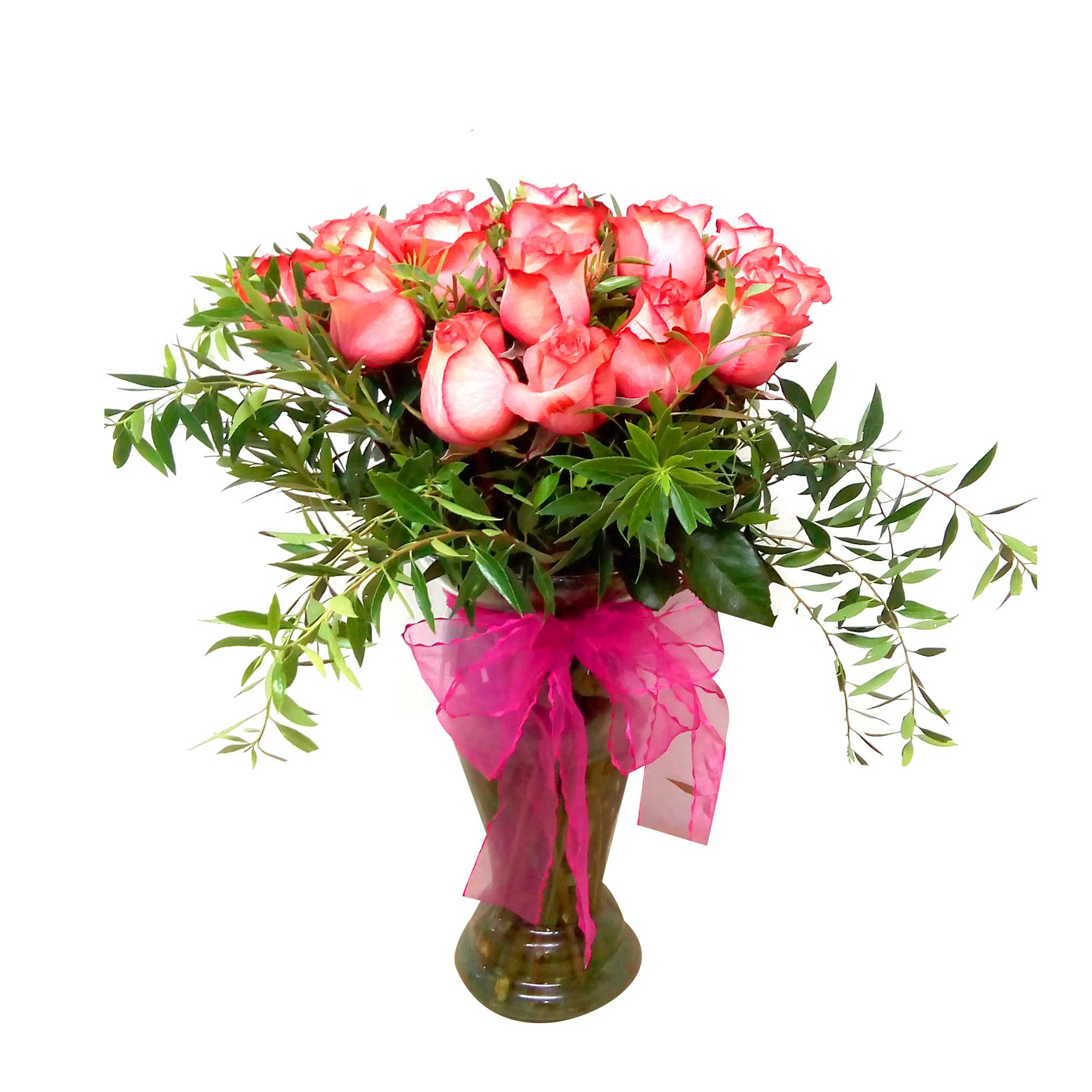 Floreros con Rosas Rosadas mas Ruscus