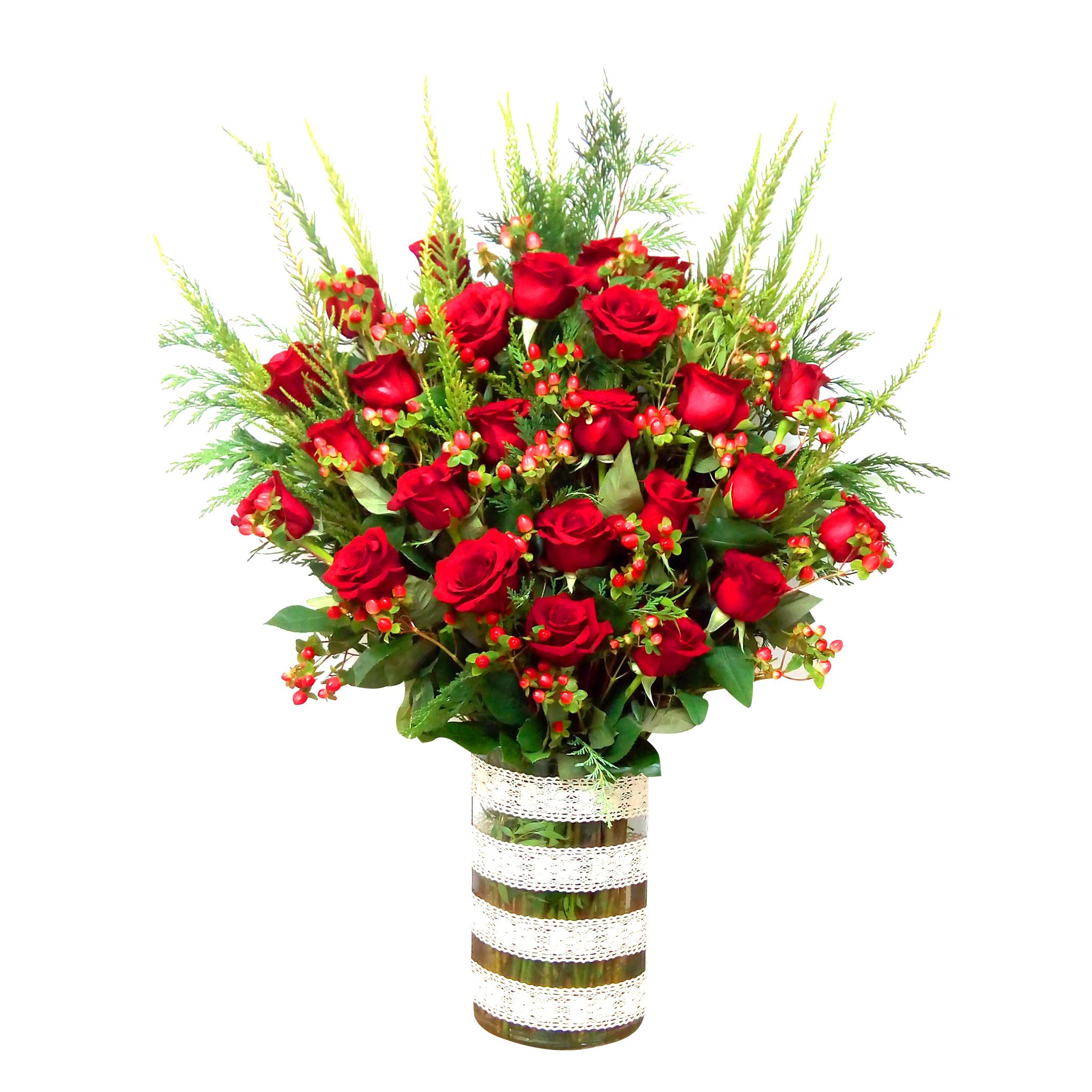 Floreros de Rosas Rojas mas Hypericum