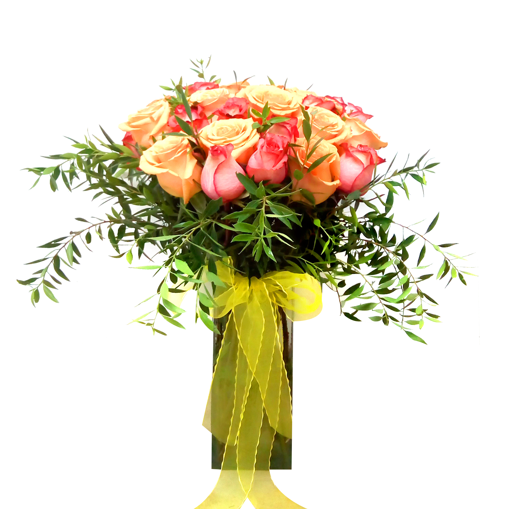 Floreros de Rosas Damasco y Rosadas