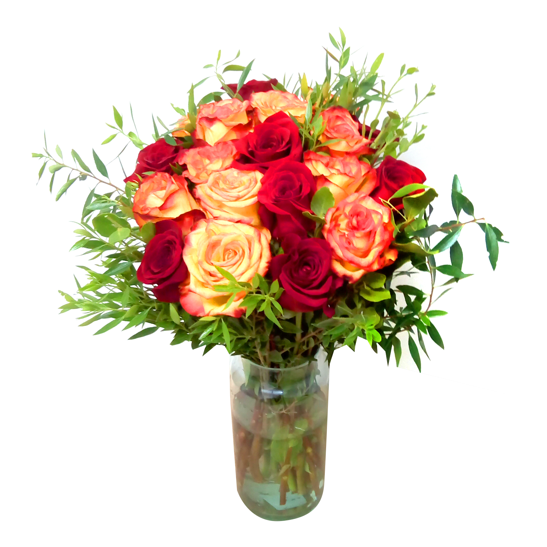 Floreros de Rosas Rojas, Damasco y Ruscus