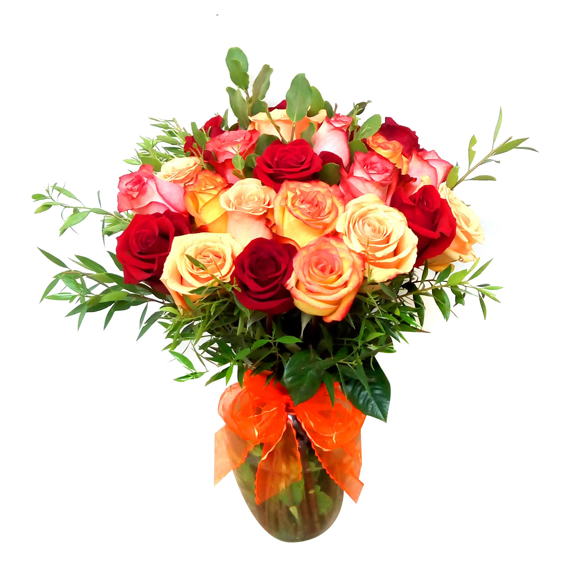 Floreros de Rosas Rosadas y Damasco