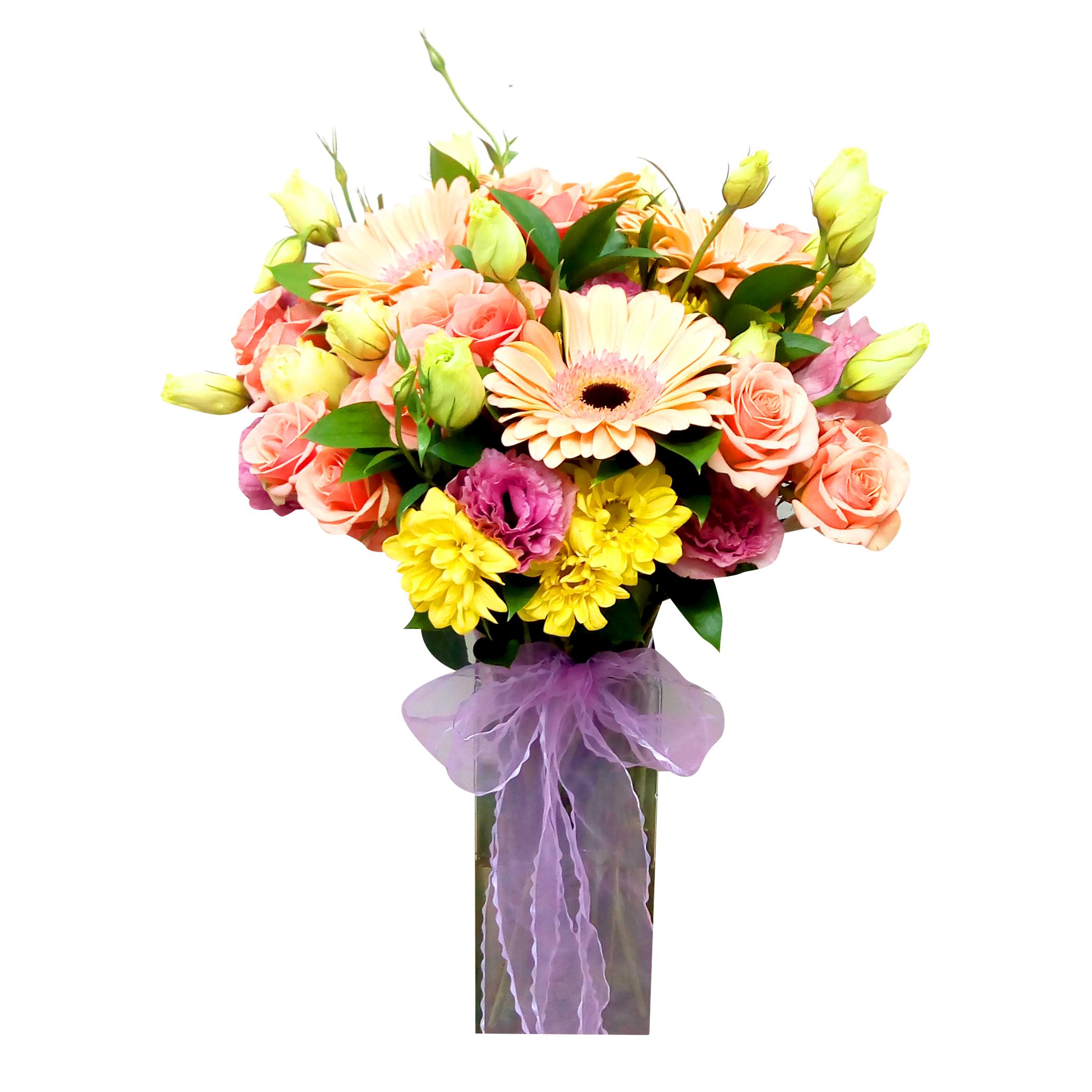 Floreros Mixto con Gerberas, Mini rosas y Mable Margarita