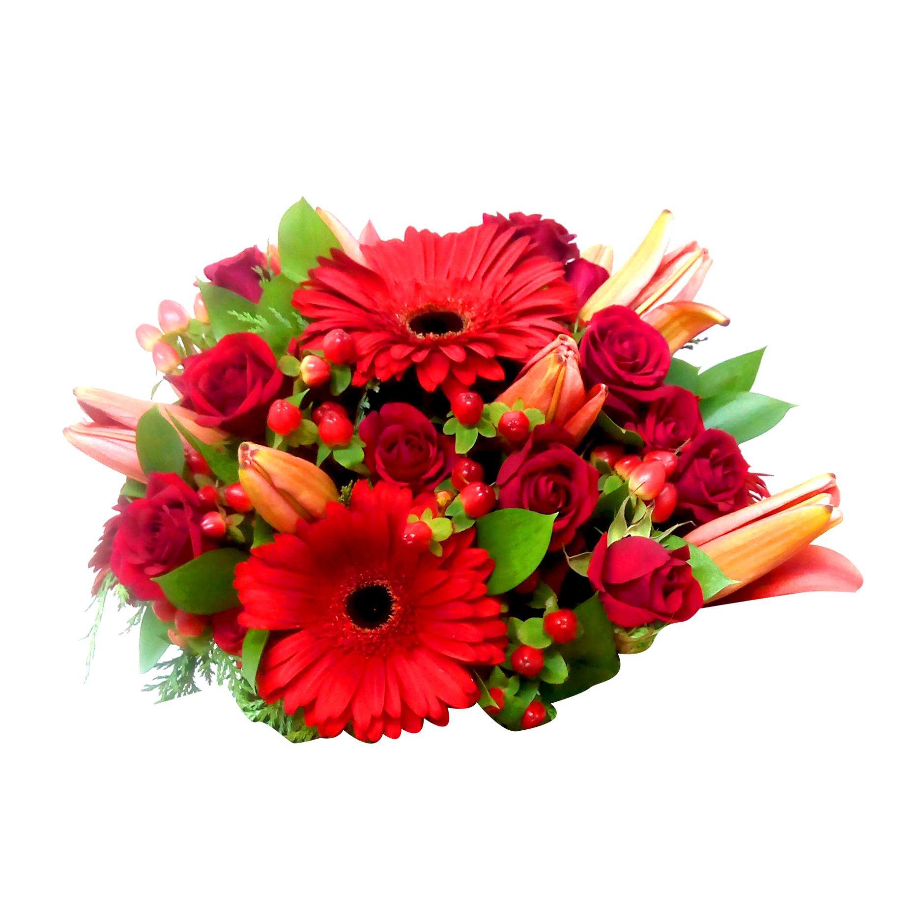 Centros de Mesa con Lilium, Mini Rosas mas Hypericum