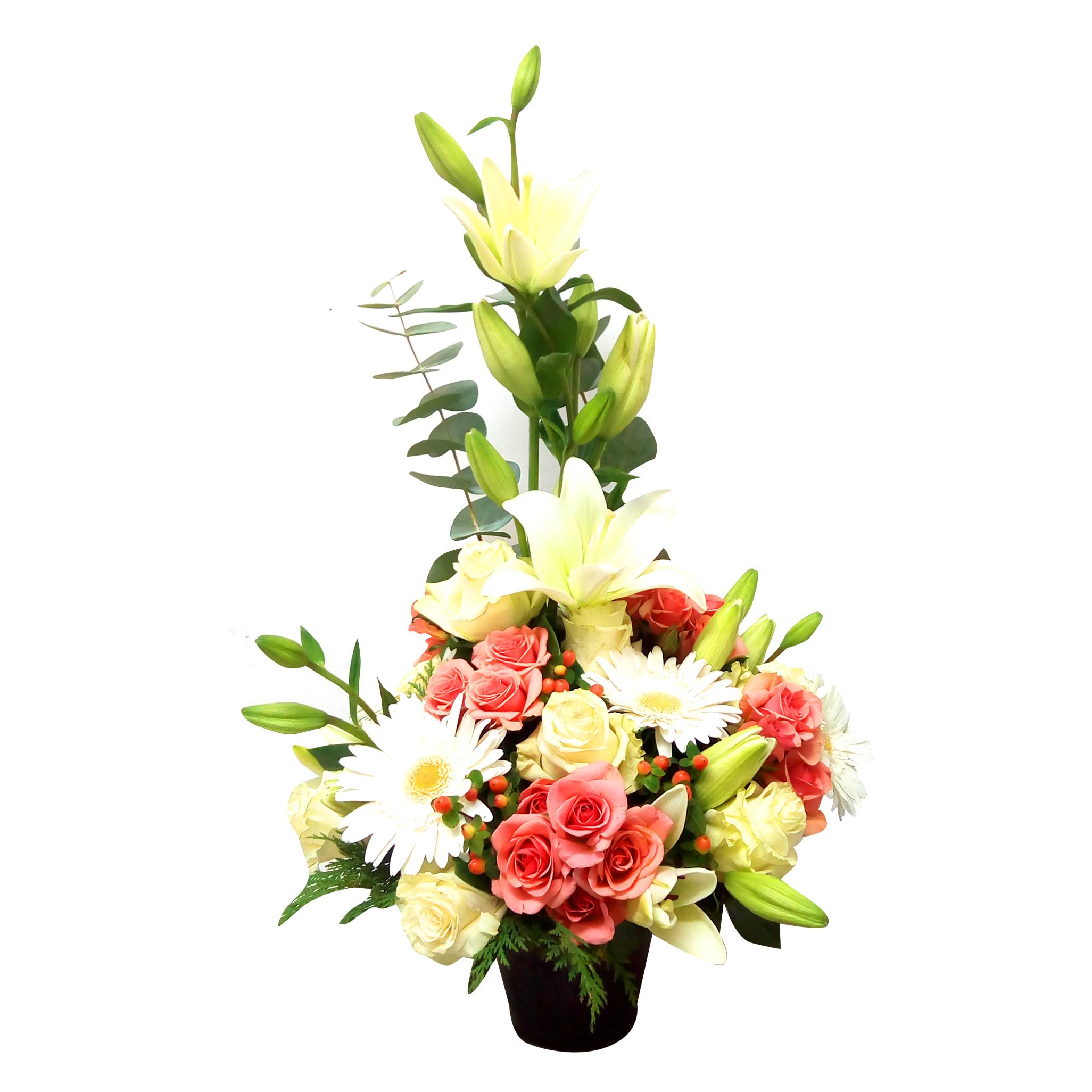 Canastillos con Rosas, Lilium, Gerberas mas Hypericum