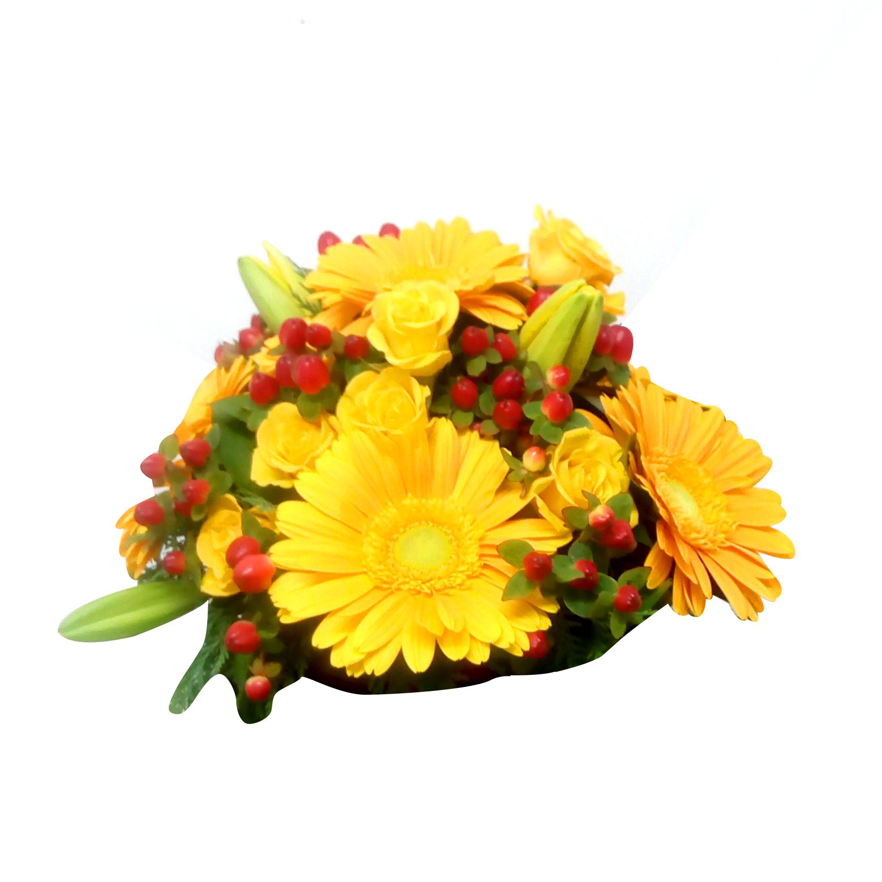 Canastillos con Mini rosas, Gerberas y Lilium