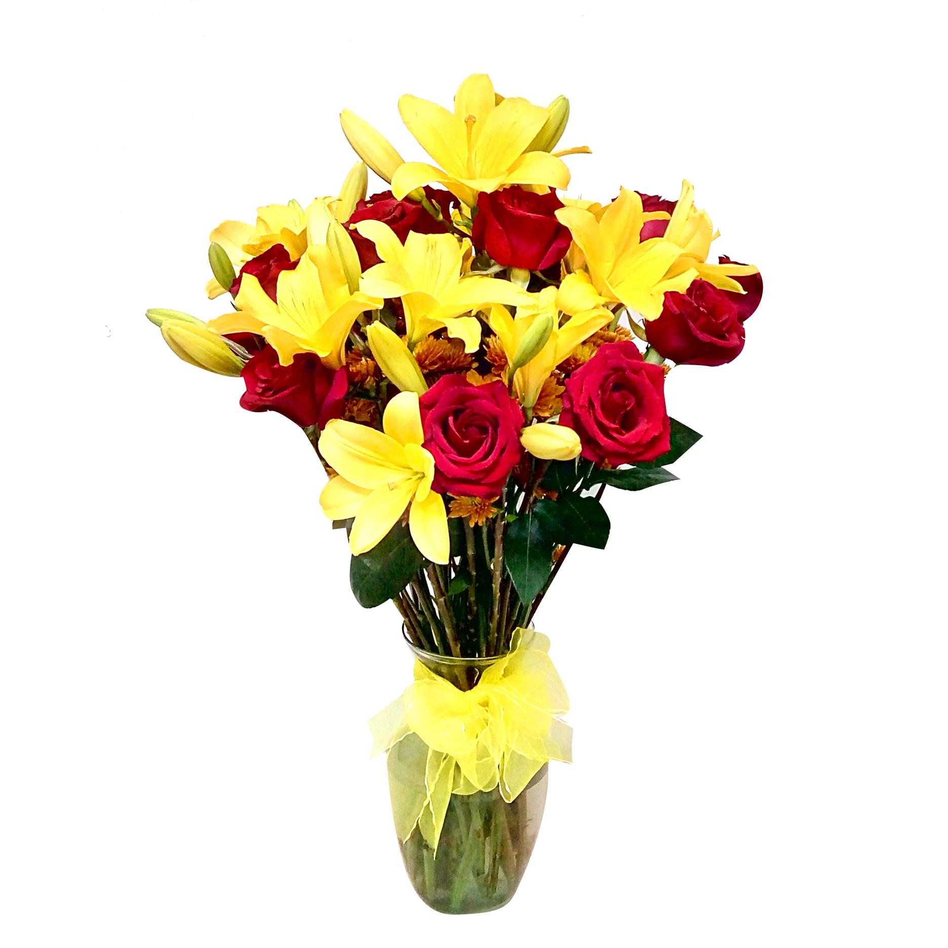 Floreros Mixto con Rosas, Lilium y Mable Pompom