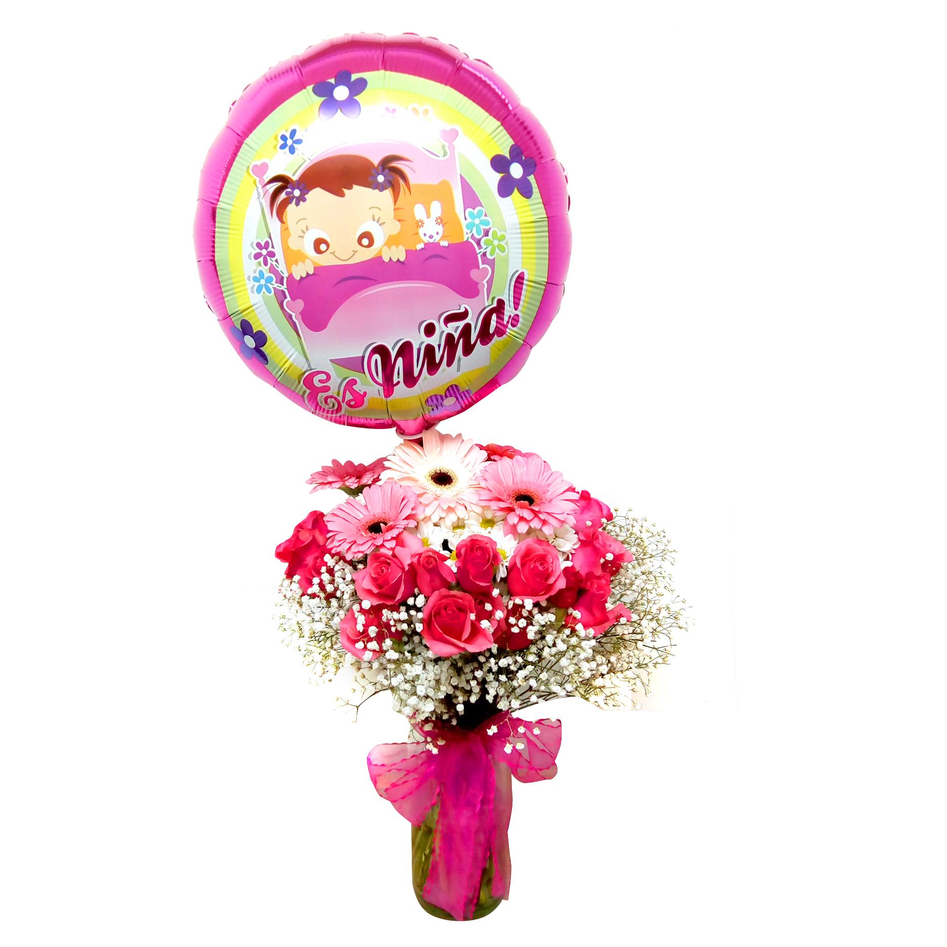 Canasto de niña con Mini Rosas, Gerberas y Mable