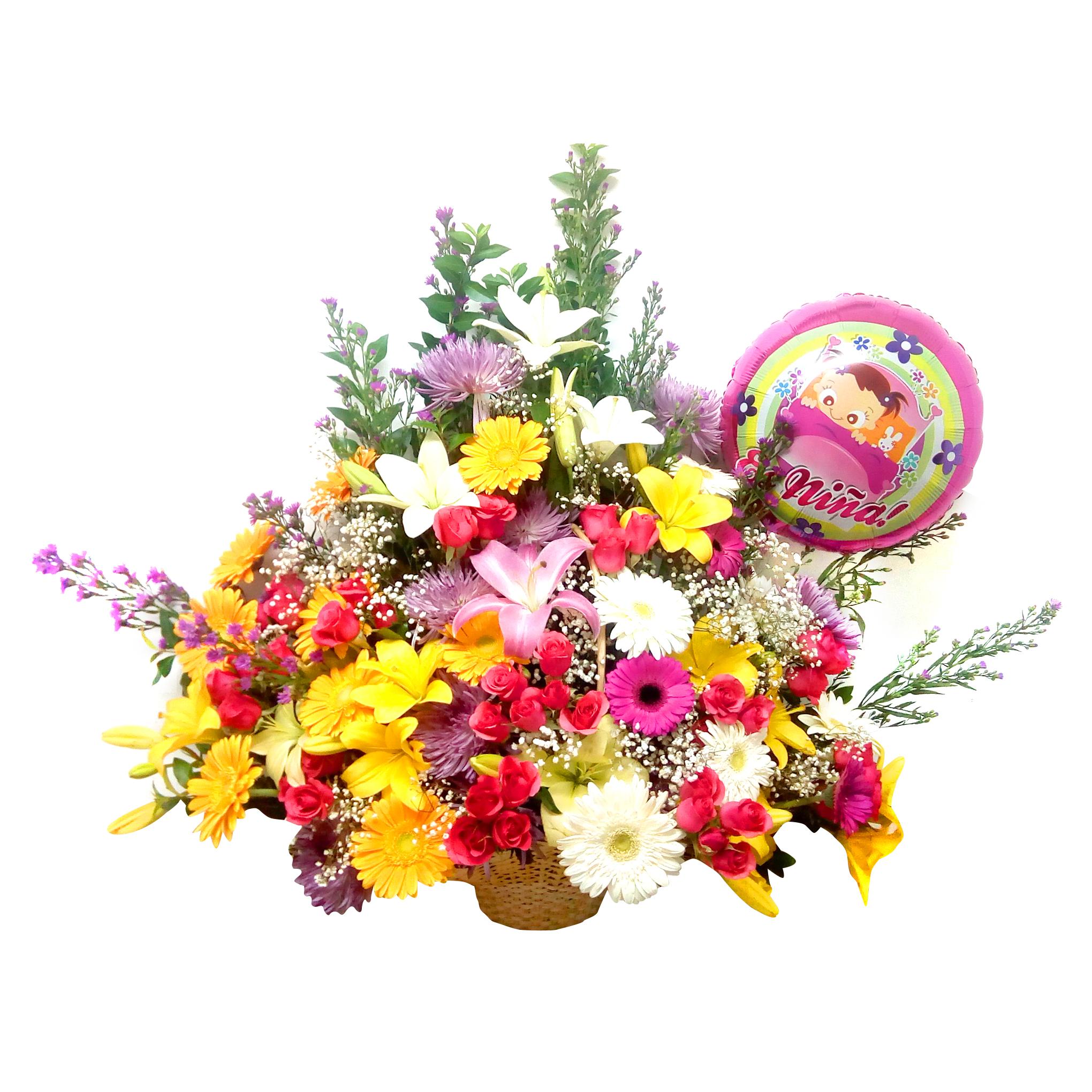 Canasto de Niña con Gerberas, Lilium y Rosas