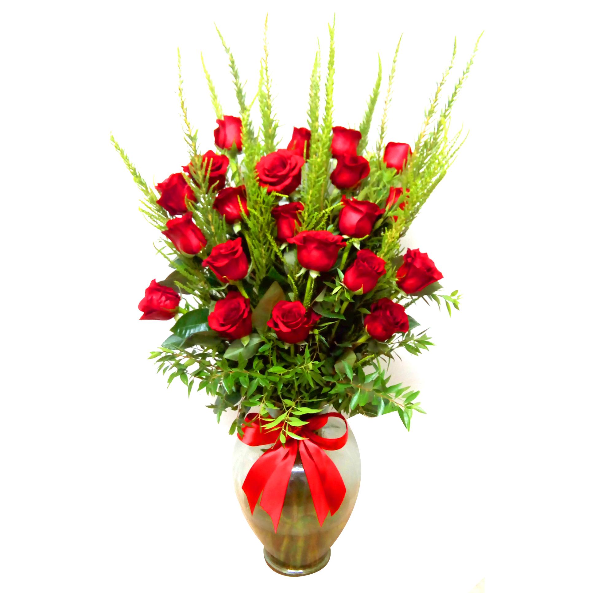 Florero con Rosas Rojas mas Romero
