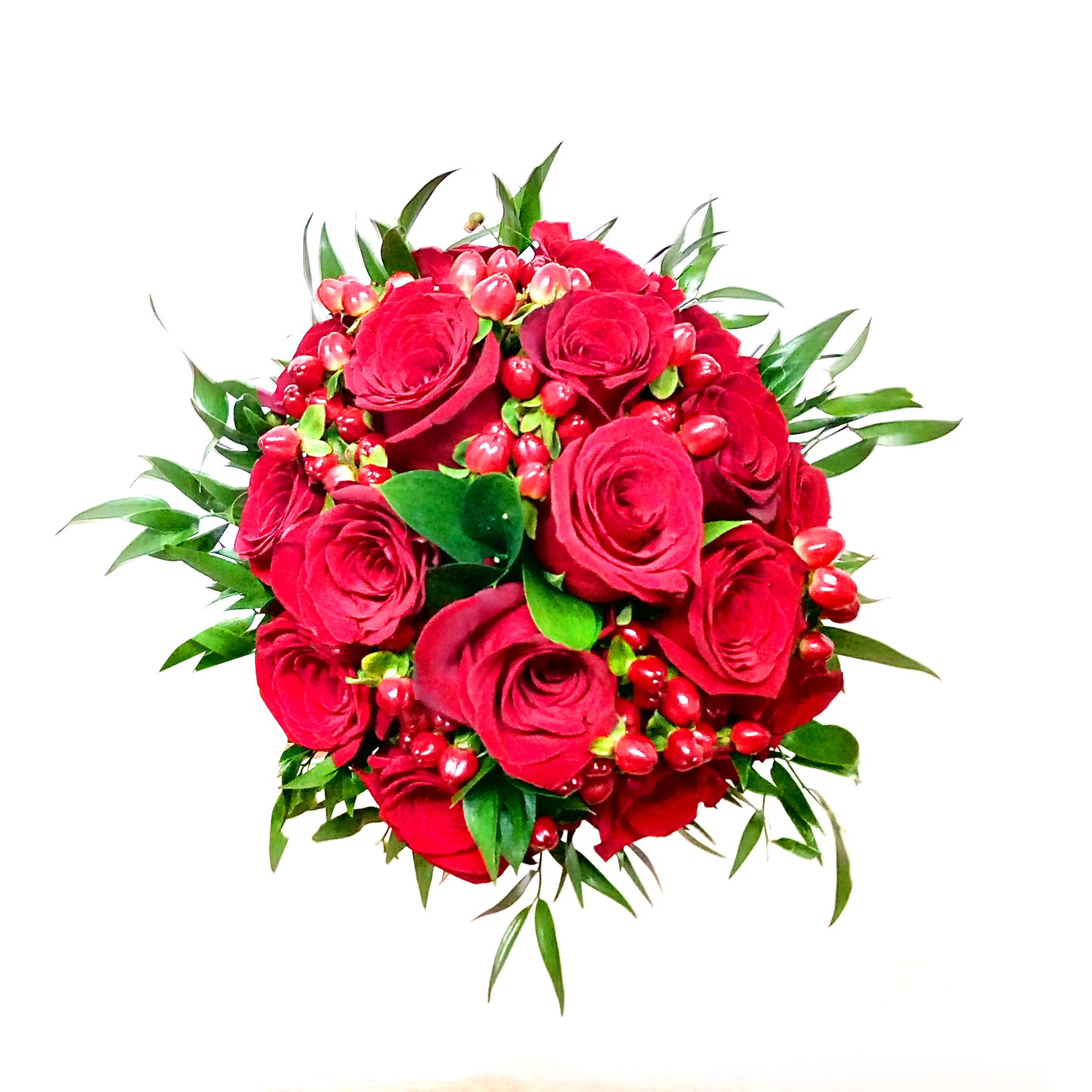 Ramo de novia con Rosas Rojas mas Hypericum