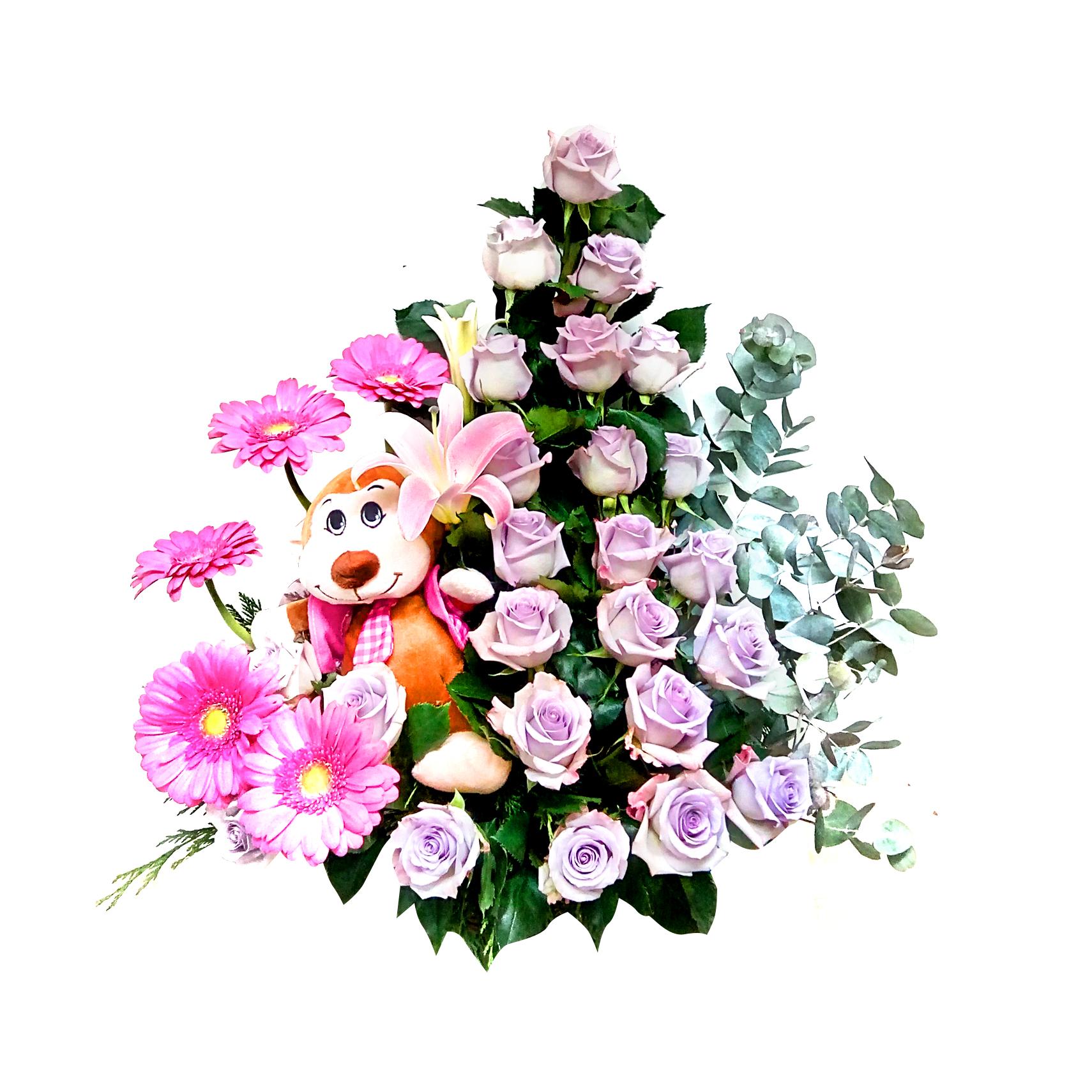 Canasto de niña con Rosas, Gerberas