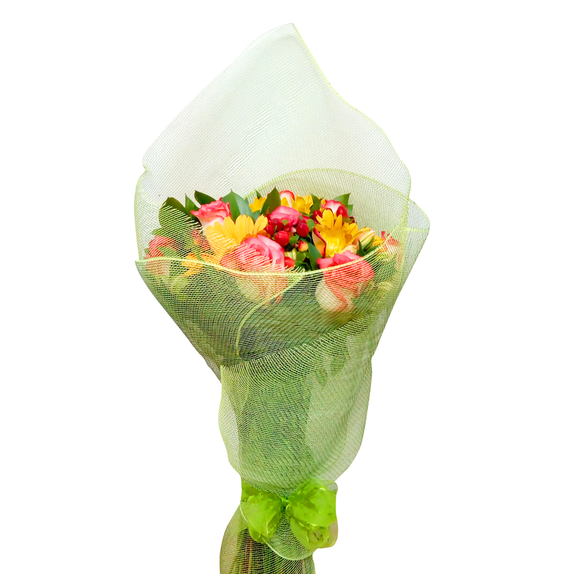 Ramo de flores Mixto con Gerberas, Rosas mas Hypericum