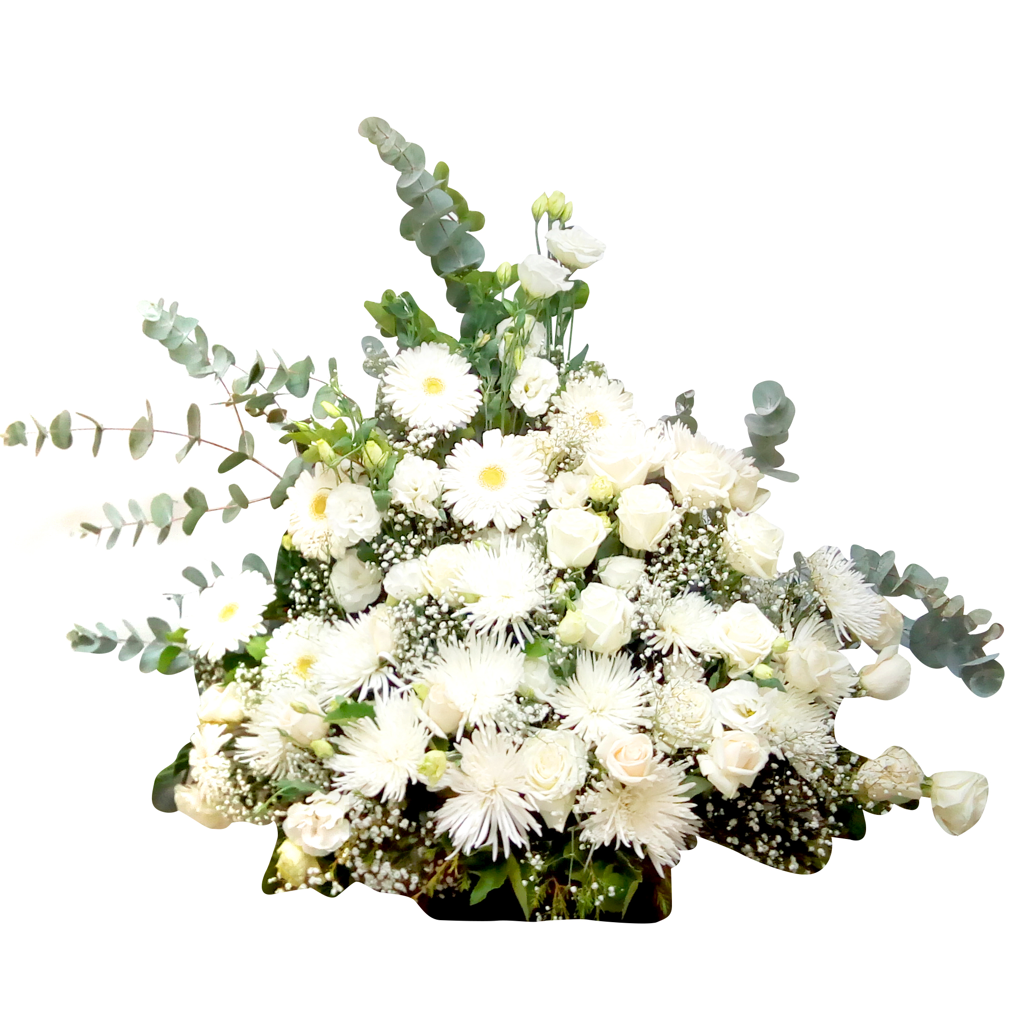 Cubre Urna en Canasto con Rosas, Lisianthus y Mini Gerberas