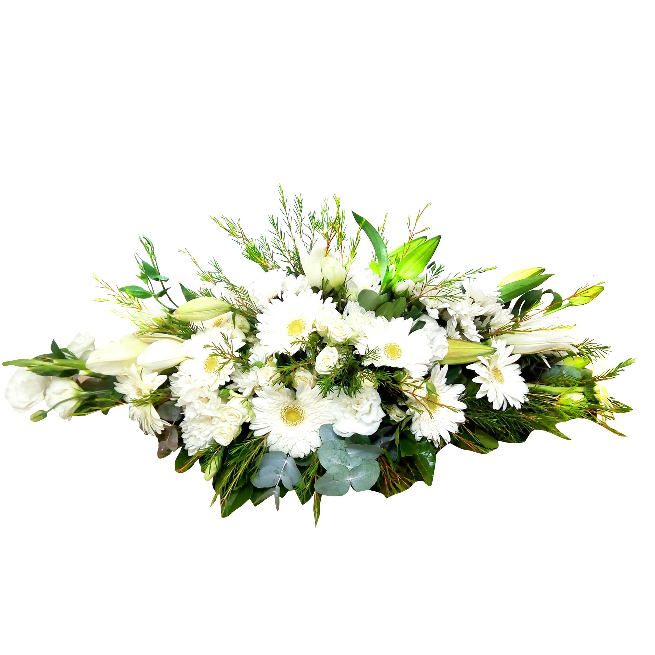 Cubre Urna en Canasto con Mini Rosas, Gerberas y Lilium