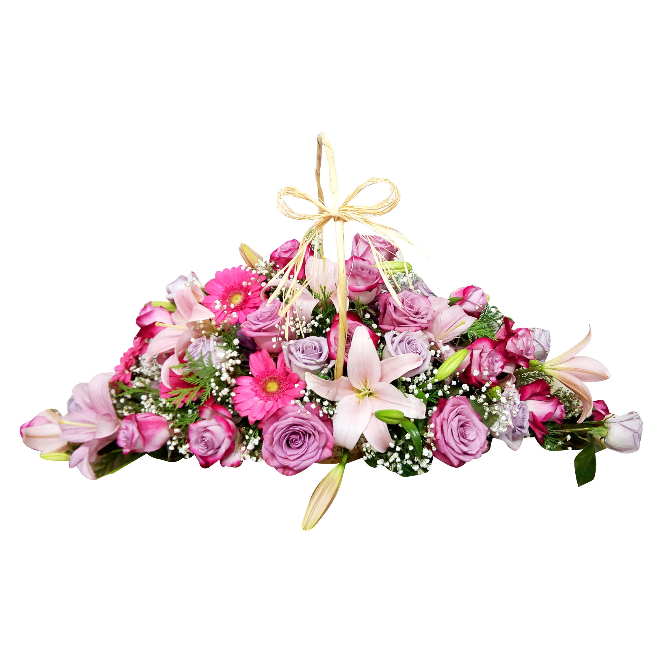 Violetera con Rosas, Lilium y Gerberas