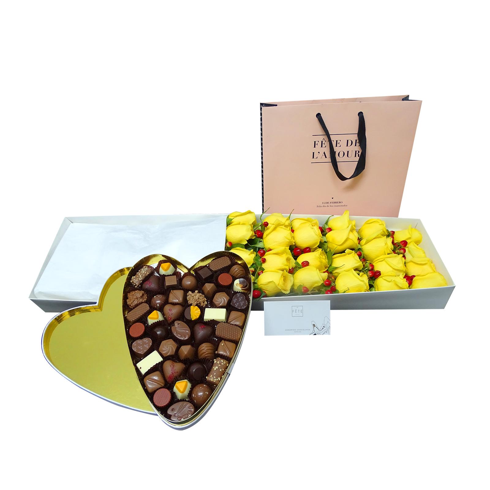 Caja de Rosas y Chocolates Finos La Fete ( Disponible la caja cuadrada)