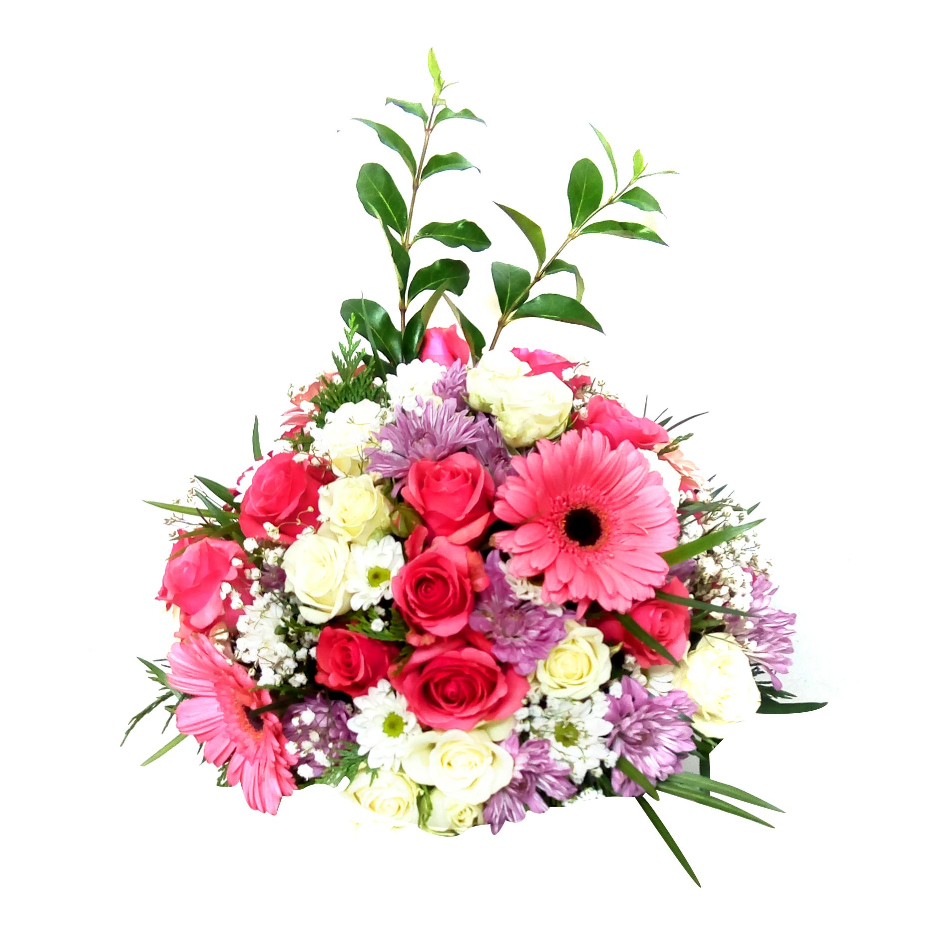 Centro de Mesa con Gerberas, Mini Rosas y Mable