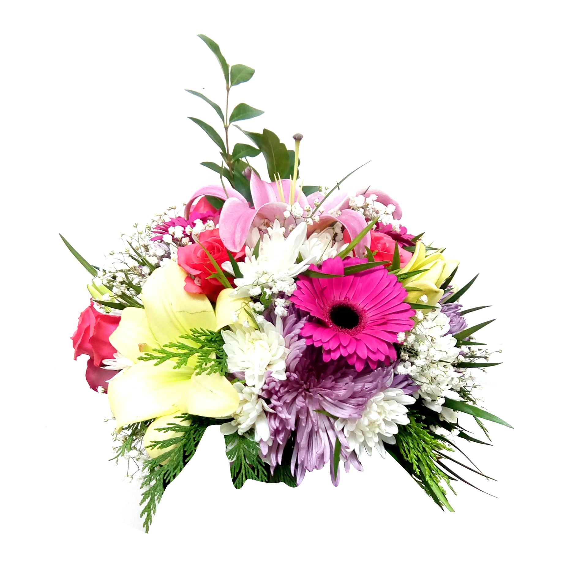 Centro de Mesa con Gerberas, Mini Rosas y Lilium