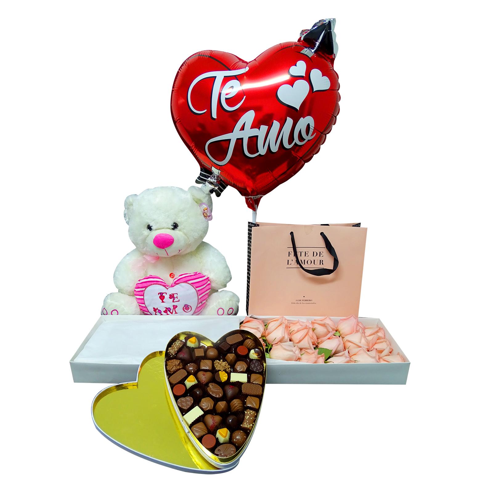Caja de Rosas, (Chocolates de corazón no disponible), Peluche y Globo