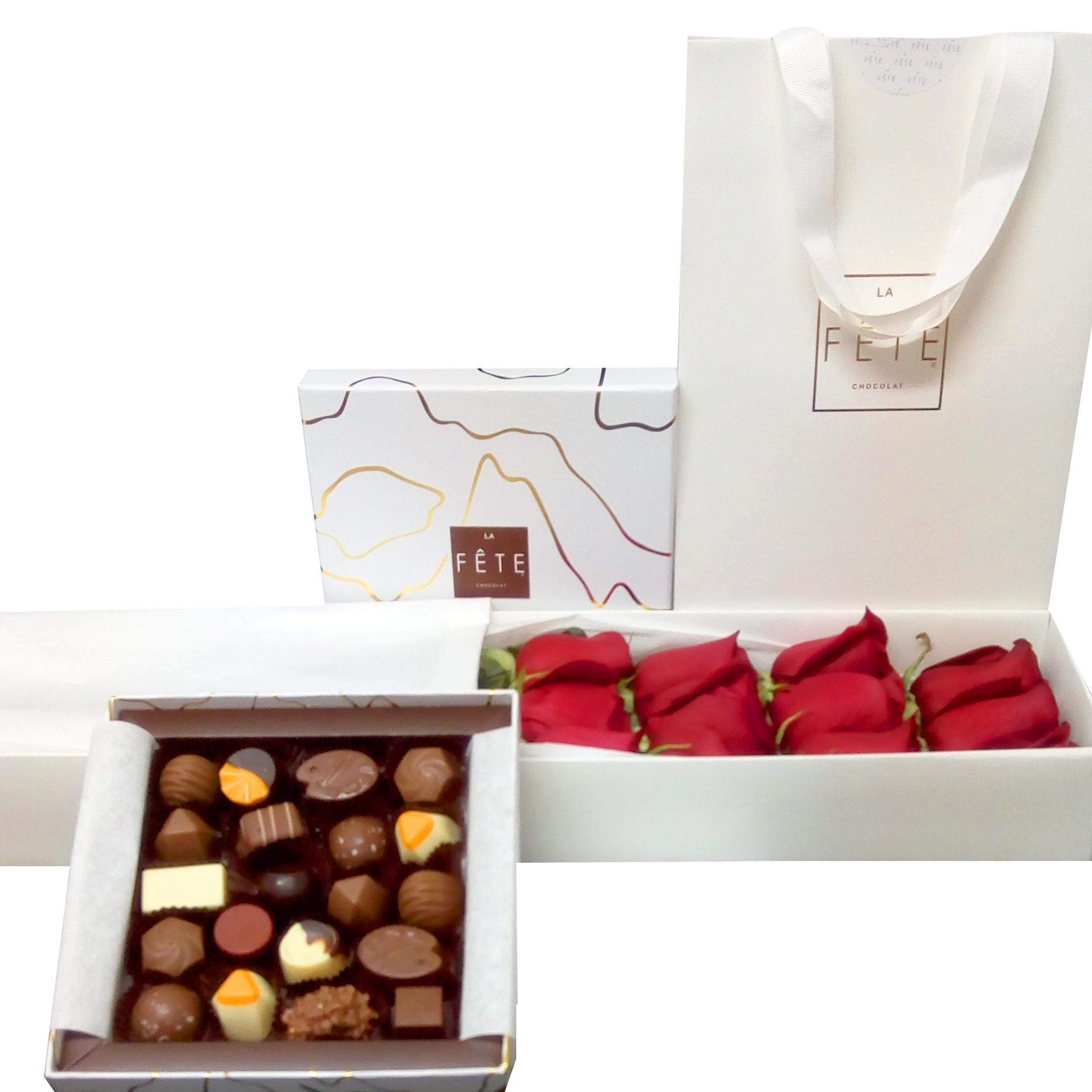 Caja de Rosas y Chocolates Finos La Fete