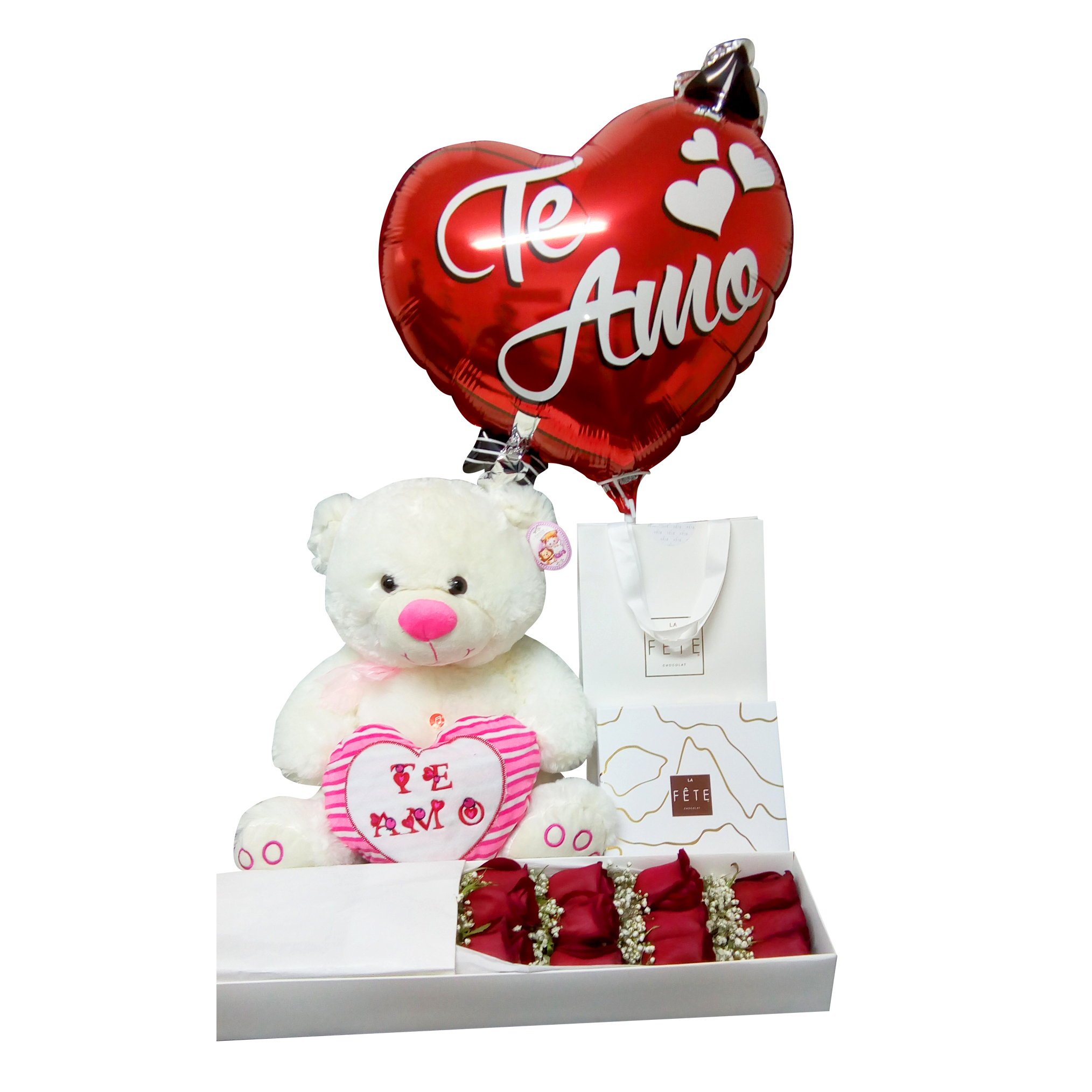 Caja de Rosas, Chocolates, Peluche y Globo