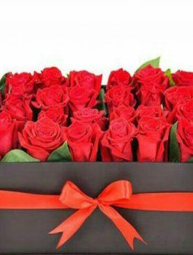 Elegante caja negra de 24 Rosas color rojo