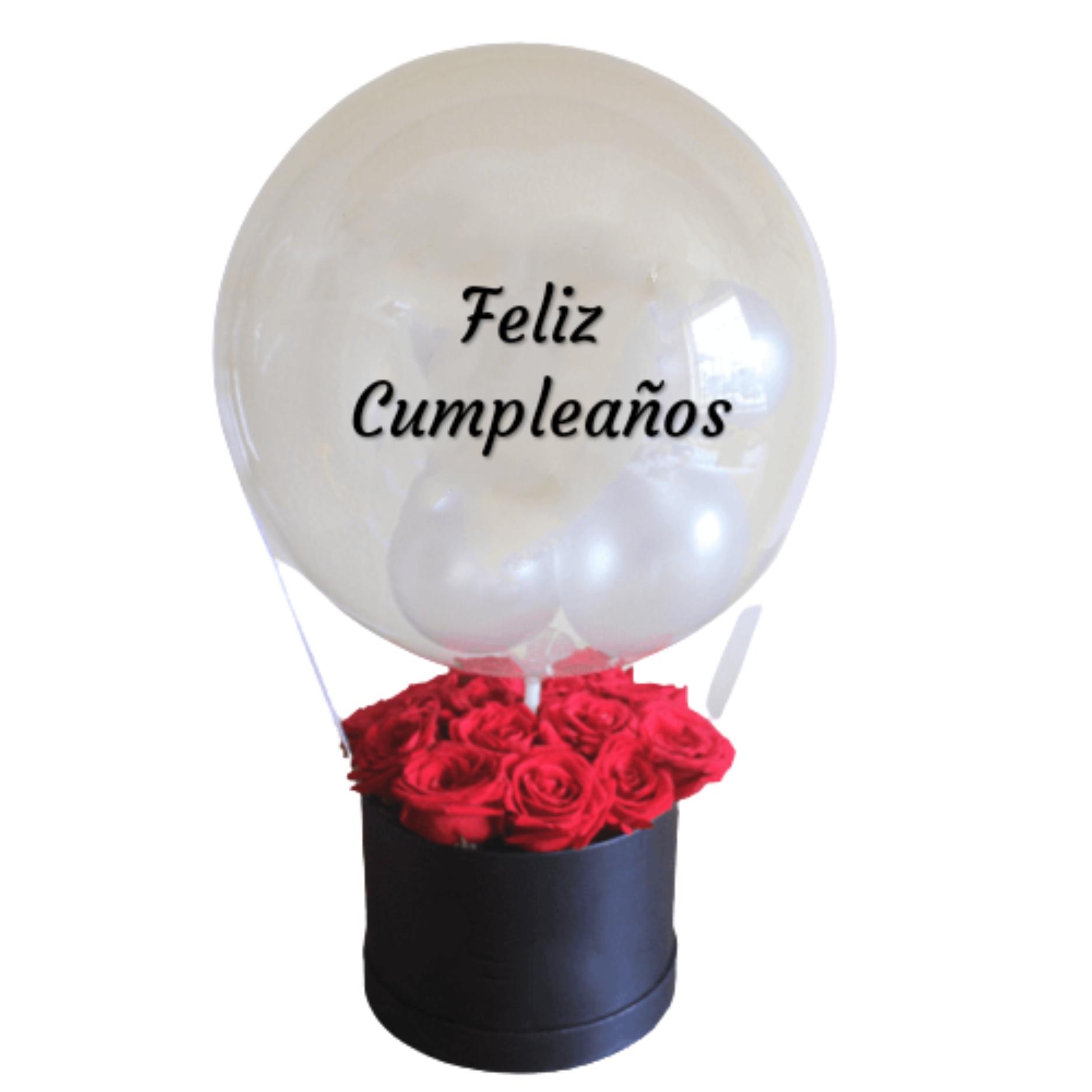 Box de 12 Rosas mas Globo Burbuja